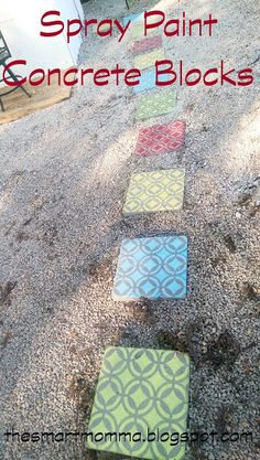 The Smart Momma: Spray Paint Concrete Blocks.  This would be cool grouped together for a nice patio.