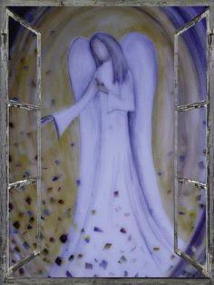 Fensterbild, Blauer Engel, Engelmalerei, Engelbild, Kunst