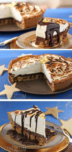 Moon Pie Pie - a pie based on the classic moon pie cookie! Chocolate chip cookie crust, chocolate ganache, and a big cloud of toasted meringue. | From SugarHero.com
