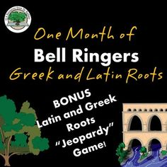 One month of bell ringers introducing Greek and Latin roots, prefixes and suffixes. NO PREP -- just open the pdf file and go.  Print or project one at a time and instantly have a month's worth of bell ringers / DO NOW lessons / seat work.All student pages black/white for easy printing.