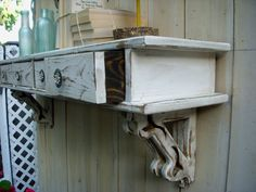 Wall Mounted Shelf with Drawers  Shabby  French by honeystreasures, $350.00. Love this on a focal wall.   http://riverorganics.net