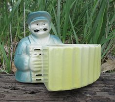 Man Playing Accordion Vintage Ceramic Planter AtomicPutz.com