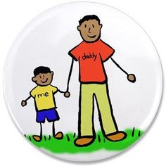 """Father and son hold hands. The man's shirt read """"daddy"""" and the little boy's shirt reads """"me"""". The family has black hair and tan skin . There are multiple ethnic family versions of the image."""