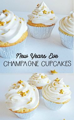 New Years Eve Champagne Cupcakes - Momma Lew - Heather // Boston Girl Bakes- Baking Tips And Tutorials, Easy Dessert Recipes - Holidays Mini Desserts, Party Desserts, Holiday Desserts, Holiday Parties, New Year's Cupcakes, Yummy Cupcakes, Cupcake Cakes, Rose Cupcake, New Years Eve Dessert