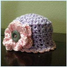 Baby Girl Hat with Flower Embellishment. Size 0-3mos. $8.00