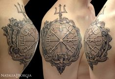 Vegvísir, Viking compass. Black and gray tattoo with nautical frame.