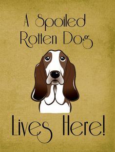 Basset Hound Spoiled Dog Lives Here 2-Sided Garden Flag