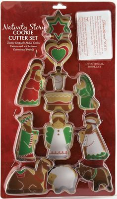 "[""Celebrate the Christmas story in a most delicious way with this set of 12 nativity cookie cutters. Perfect for making cookies to decorate, these cookie cutters are fun for the family to use together, and will spark conversations about the true meaning of Christmas.Made of metal, these cookie cutters will easily cut through your cookie dough in the shapes of Mary, Joseph, the baby Jesus, two shepherds, an angel, three manger animals, a heart and the Christmas star. The set also include…"