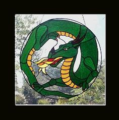 Dragon  Stained Glass Hanging Panel by AGlassMenagerieEtc on Etsy, $350.00