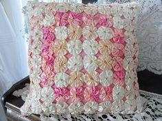 Gorgeous Vintage Satin Yo Yo Pillow