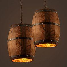 Wood Wine Barrel Hanging Style Ceiling Pendant Lamp Lighting Bar Cafe Lights