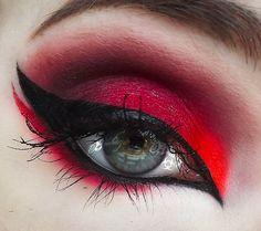 "Gorgeous ""Radiation Red"" look by Biohazardous Beauty using Sugarpill Bulletproof, @#$%! and Tako eyeshadows!  http://www.beautylish.com/f/nuixnp/radiation-red"
