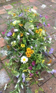 Meadow flower casket spray Www.velvetbrown.co.uk