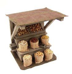 Market stall design - D&D Or Mordheim? Miniature Rooms, Miniature Crafts, Miniature Houses, Miniature Fairy Gardens, Miniature Furniture, Fairy Furniture, Doll Furniture, Dollhouse Furniture, Christmas Nativity Scene