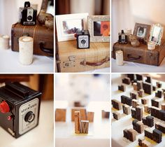 Vintage cameras, photo frames, suitcases and wooden stamps. Photo: Jodi Miller