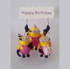 Minions girl handmade cake topper polymer (cold porcelain), Birthday by RUSTIKOcakeDecoratio on Etsy
