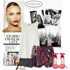 Stories from the City! by minnie-me on Polyvore featuring moda, Nieves Lavi, Steve Madden, Humble Chic, MANGO, Schmid, Post-It, TAXI, pink sandals and ikat print