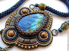 Купить Кулон бисерный Кel Tagelmust - тёмно-синий, украшения из бисера, украшения ручной работы