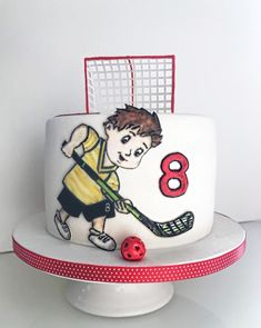 Little floorball player - cake by Dasa Hockey Cakes, Soccer Cake, 1st Boy Birthday, Birthday Parties, Birthday Cake, Party Cakes, Birthdays, Sport, Daily Inspiration