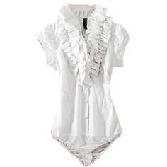 Designer Clothes, Shoes & Bags for Women Bodysuit Blouse, Bodysuit Fashion, White Bodysuit, White Ruffle Blouse, Ruffle Top, Daily Dress, Playsuits, Jumpsuits, Flutter Sleeve Top