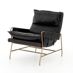 A nod to relaxed modernism, a jet-black hue plays up the natural depth of Four Hands-exclusive top-grain leather, with buckle details and low-slung styling crafting the hippest of vibes.Collection: Simple elegance and romance. Each piece is made Black Leather Chair, Leather Lounge, Leather Chairs, Used Chairs, Studio Furniture, College Furniture, Office Furniture, Furniture Design, Burke Decor