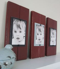 Set of Three 2 Plank Frames  for 4X6 Pictures. $87.00, via Etsy.