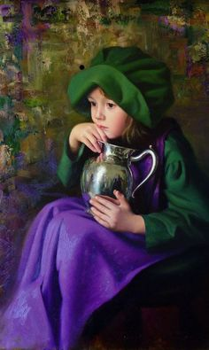 Timothy C. Tyler (1958)  Sad little girl but beautiful colours
