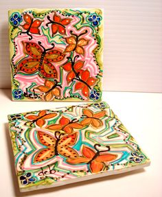 Items similar to Ceramic Tile Hand Painted Butterfly Trivet, Decorative Tile Hotplate, Kitchen Accessory on Etsy Painting Ceramic Tiles, Pottery Painting, Hand Painted Plates, Hand Painted Ceramics, Paint And Drink, Vbs Crafts, Ceramic Materials, Pretty Wallpapers, Tile Patterns
