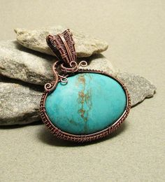 Vintage Turquoise Wire Wrap Pendant, Turquoise Necklace, Wire Wrapped Necklace, Handmade Jewelry
