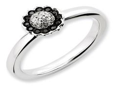 White Gold over Sterling Silver Diamond Flower Stack Ring (Available online at Gemologica.com)