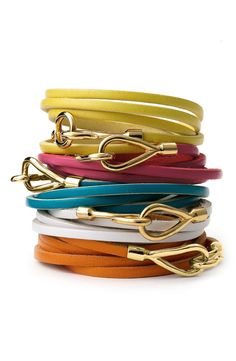 Free shipping and returns on Cara Couture Leather Wrap Bracelet at Nordstrom.com. Leather strap wraps for a layered look on a stylish bracelet secured with a chunky hook closure.