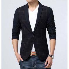 #Black check pattern men's cotton #suit single button fastening
