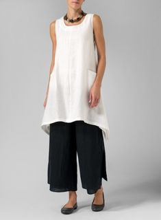 Linen High-Low Extra Long Tunic