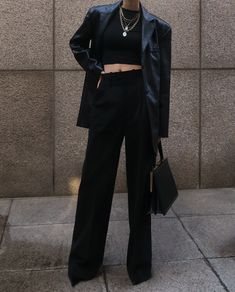 Glamouröse Outfits, Cute Casual Outfits, Stylish Outfits, Fall Outfits, Fashion Outfits, Black Outfits, Stylish Girl, Look Fashion, Korean Fashion