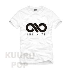 INFINITE T-shirt  A must-have for all Inspirits, this shirt is emblazoned with the cool INFINITE logo in black with their name below. It also has 'INFINITE' in smaller letters on the back.