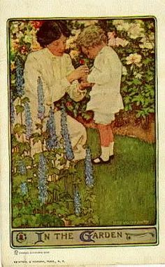 Mother and son in garden!  Jessie Wilcox Smith