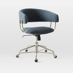 """Halifax Upholstered Office Chair in Regal Blue. See swatch at West Elm store. 23.5""""w x 20.5""""d x 31""""h. $359"""
