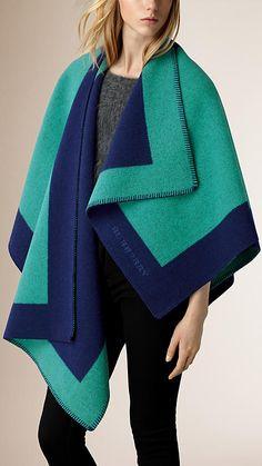 Burberry Aqua green Border Detail Wool Cashmere Poncho - Image 1