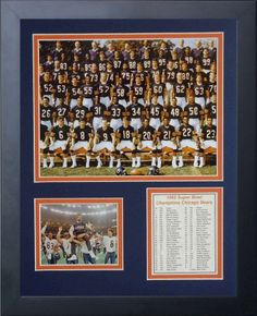 Legends Never Die 1985 Chicago Bears Framed Photo Collage, 11×14-Inch
