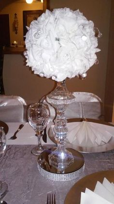 This Crystal Flower Ball Centerpiece is just one of the custom, handmade pieces you'll find in our weddings shops. Flower Ball Centerpiece, Mirror Centerpiece, Wedding Table Centerpieces, Party Centerpieces, Bling Centerpiece, Dollar Tree Centerpieces, Quinceanera Centerpieces, Party Favors, White Wedding Decorations