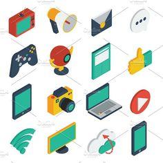 Media Isometric Icons Set by VectorPot on @creativemarket