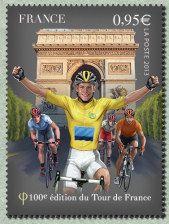 Le maillot jaune à l´arrivée du Tour de France aux Champ-Elysées Centième Tour de France - Timbre de 2013