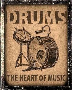Drums set sign / Music Studio retro vintage wall decor by hodeac. For my music area Vintage Drums, Vintage Metal Signs, Vintage Walls, Retro Vintage, Vintage Style, Drums Quotes, Drum Room, Drums Art, Drum Music