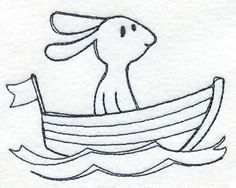 Bunny in a Boat (Redwork)