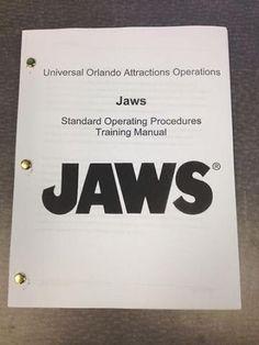 Rare JAWS RIDE Training Manual - 88 Pages - Universal Studios Florida Shark Prop (05/17/2013)