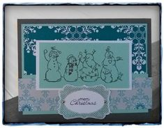 Snow Friends - Stamps: Frosty Friends, Petite Pairs, Four Frames  Paper: gray, white, pool party, DSP  Ink: gray, pool party  Accessories: mini brads, decorative label punch