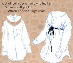 Gypsy Shirt from a man's shirt.because, you just never know when you might need a gypsy shirt. Sewing Tutorials, Sewing Hacks, Sewing Crafts, Sewing Projects, Sewing Patterns, Diy Clothing, Sewing Clothes, Redo Clothes, Diy Sans Couture