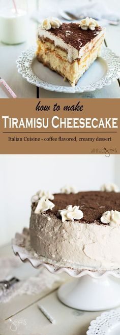 Double the love! Don't settle on only one cake, have them both and eat it too! The flavors of silky cheesecake and creamy tiramisu are just so hard to resist. Tiramisu Cheesecake - This Italian tiramisu cheesecake dessert is infused with coffee flavors. Tiramisu Cheesecake, Coffee Cheesecake, Cheesecake Desserts, Pumpkin Cheesecake, Italian Cheesecake, Birthday Cheesecake, Tiramisu Recipe, Best Cake Recipes, Sweet Recipes