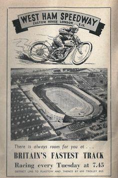 West Ham Speedway Speedway Motorcycles, Speedway Racing, Racing Motorcycles, Vintage Motorcycles, Bike Poster, Motorcycle Posters, Motorcycle Art, West Ham, Vintage Race Car