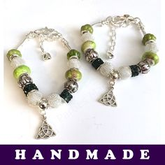 Green and Silver European Style Charm Bracelet With Tibetan Silver Triquetra  | eBay